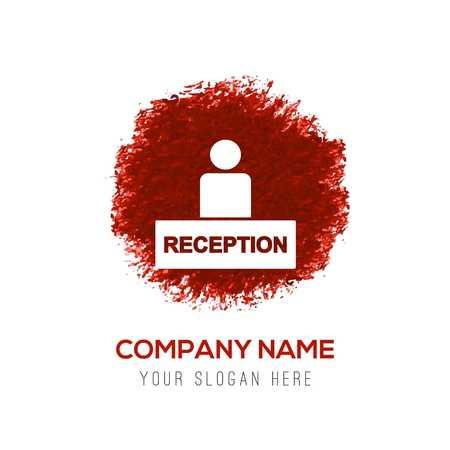 Hotel reception icon - Red WaterColor Circle Splash