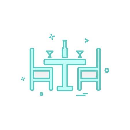 Dinning table icon design vector Illustration