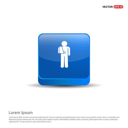 patient, icon - 3d Blue Button. Stock Vector - 118243377