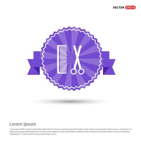 Comb and scissors icon - Purple Ribbon banner