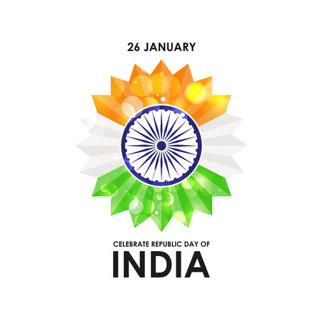 Indian Republic day card with typogrpahic background vector