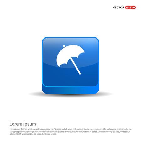 Beach Umbrella Icon - 3d Blue Button.