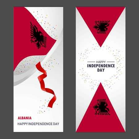 Albania Happy independence day Confetti Celebration Background Vertical Banner set Vektorové ilustrace