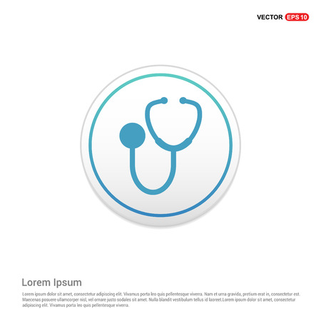 Medical stethoscope icon - white circle button