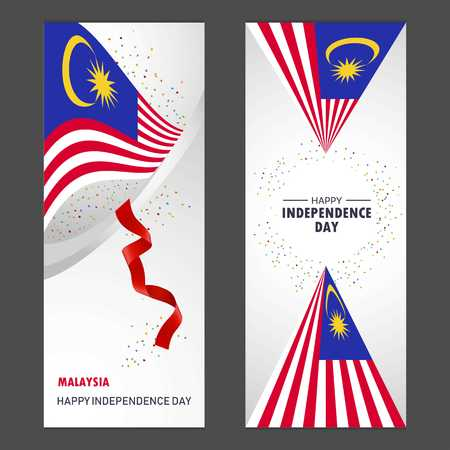 Malaysia Happy independence day Confetti Celebration Background Vertical Banner set