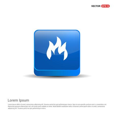 icono de fuego - botón azul 3d. Ilustración de vector
