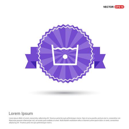 Icono de símbolos de lavandería - banner de cinta púrpura Ilustración de vector