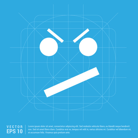 Angry face smile icon