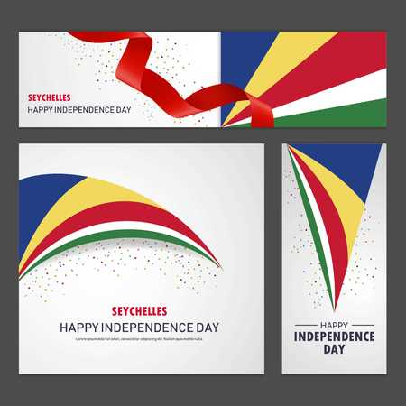 Happy Seychelles independence day Banner and Background Set 矢量图像