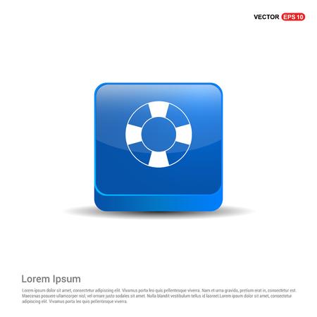 Swimming Lifebuoy Icon - 3d Blue Button.