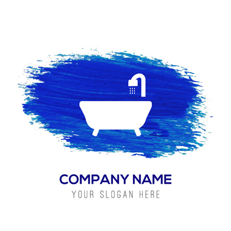 Bath Tub Icon - Blue watercolor background