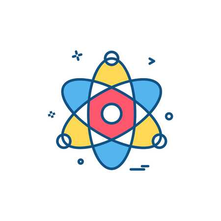 Atom chemistry physics science icon vector design