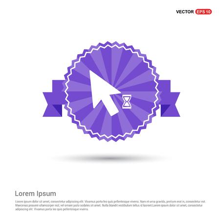 Mouse Cursor Loading  Icon - Purple Ribbon banner