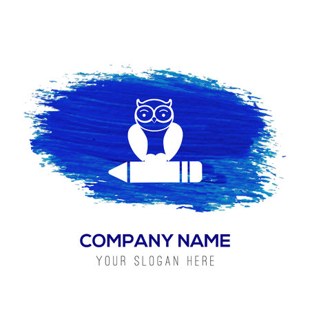 Owl Icon - Blue watercolor background