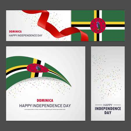 Happy Dominica independence day Banner and Background Set