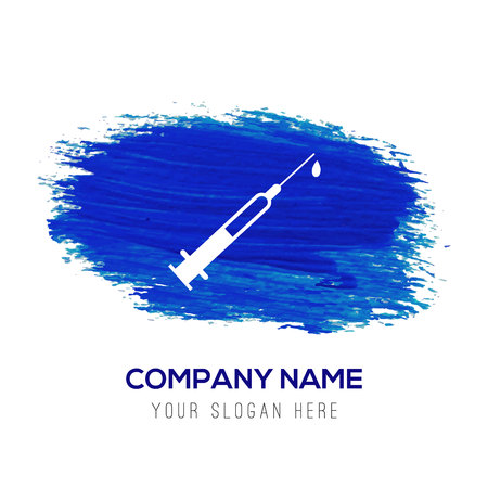 Syringe (Injection) icons - Blue watercolor background