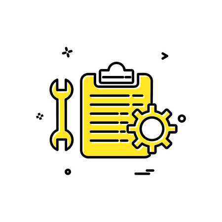 wrench setting gear check  list icon vector design 일러스트