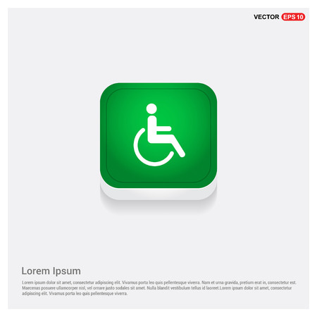 Disabled person iconGreen Web Button - Free vector icon