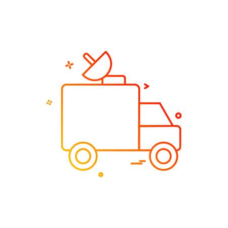 dish satellite car truck icon vector design