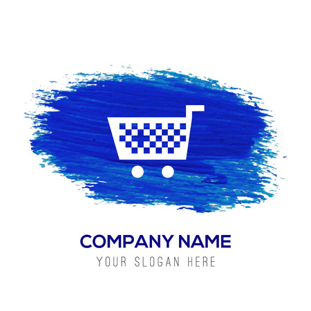 Shopping Cart icon - Blue watercolor background Ilustração