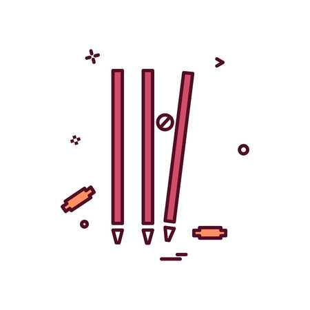 wicket cricket out bowled icon vector design Illustration