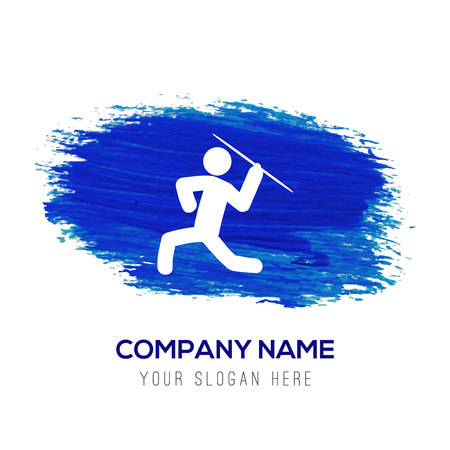 Javelin Throw Icon - Blue watercolor background Foto de archivo - 110158746