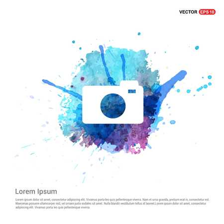 Photo camera icon - Watercolor Background