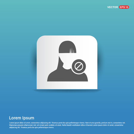 Block user icon. - Blue Sticker button Illustration