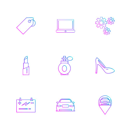 tag ,laptop , gear ,scandal , navigation , perfume ,lipstick , car ,card , icon, vector, design,  flat,  collection, style, creative,  icons Illustration