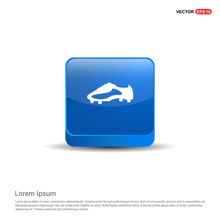 Football Boot Icon - 3d Blue Button.