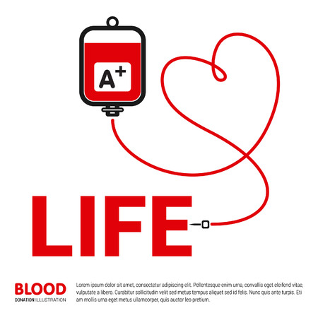 Blood donation typographic design with creative style vector