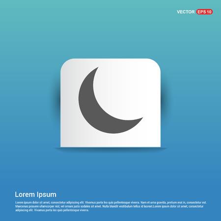 Moon Icon - Blue Sticker button Illustration