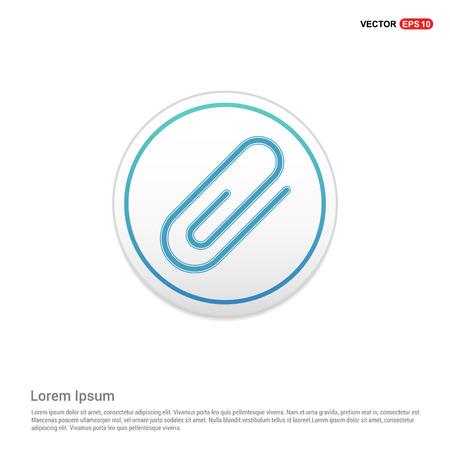 Attach paper clip icon - white circle button Stock Vector - 118251888