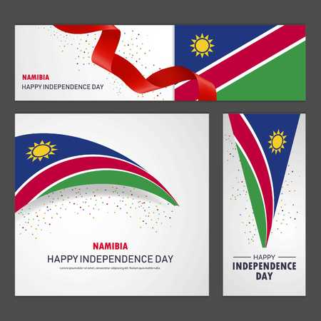 Happy Namibia independence day Banner and Background Set Çizim