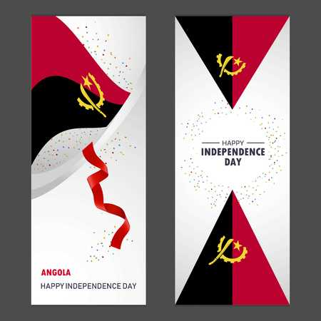Angola Happy independence day Confetti Celebration Background Vertical Banner set Illustration