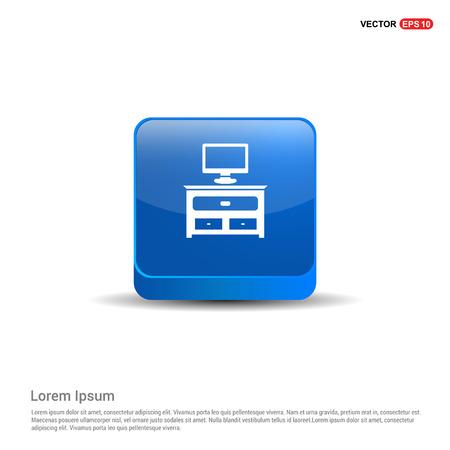 Computer Table Icon - 3d Blue Button.