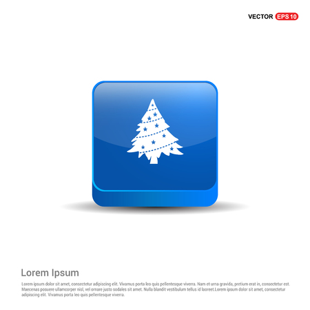 X-Mas Tree Icon - 3d Blue Button.