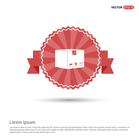 cardboard boxes icon - Red Ribbon banner Vectores