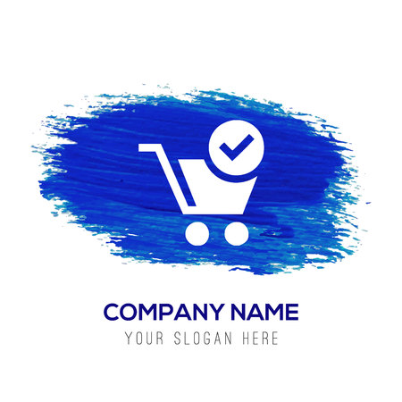 Shopping Cart and plus Sign - Blue watercolor background Illustration