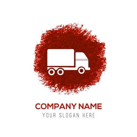 Truck icon - Red WaterColor Circle Splash 免版税图像 - 110230539
