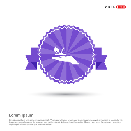 Plant In Hand Icon - Purple Ribbon banner