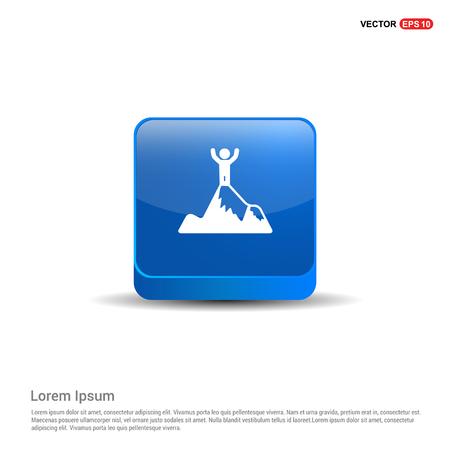 Mountain Hiking Icon - 3d Blue Button.