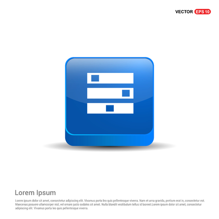 Computer Server icon - 3d Blue Button.