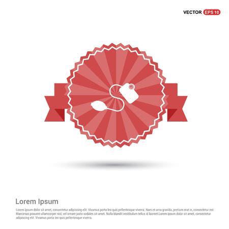 Contour medical mechanical tonometer icon - Red Ribbon banner Vecteurs
