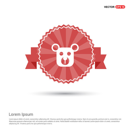 Teddy bear icon - Red Ribbon banner