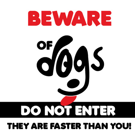Beware of dogs typographic design vector with light background Banque d'images - 110234590