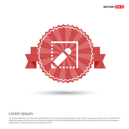 Writing pen icon - Red Ribbon banner