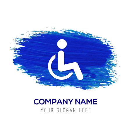 Disabled person icon - Blue watercolor background