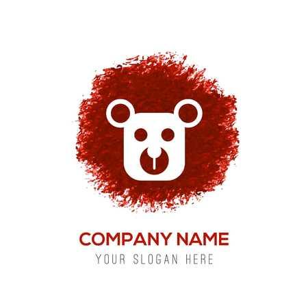 Teddy bear icon - Red WaterColor Circle Splash Stock Vector - 110229850
