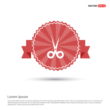 Halloween Scissors icon - Red Ribbon banner Vectores